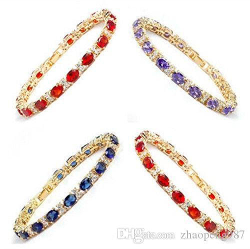 Charm Women 18K Gold Plated Crystal Zircon Bangles Wedding Party Bridal Bracelet<<<free shipping