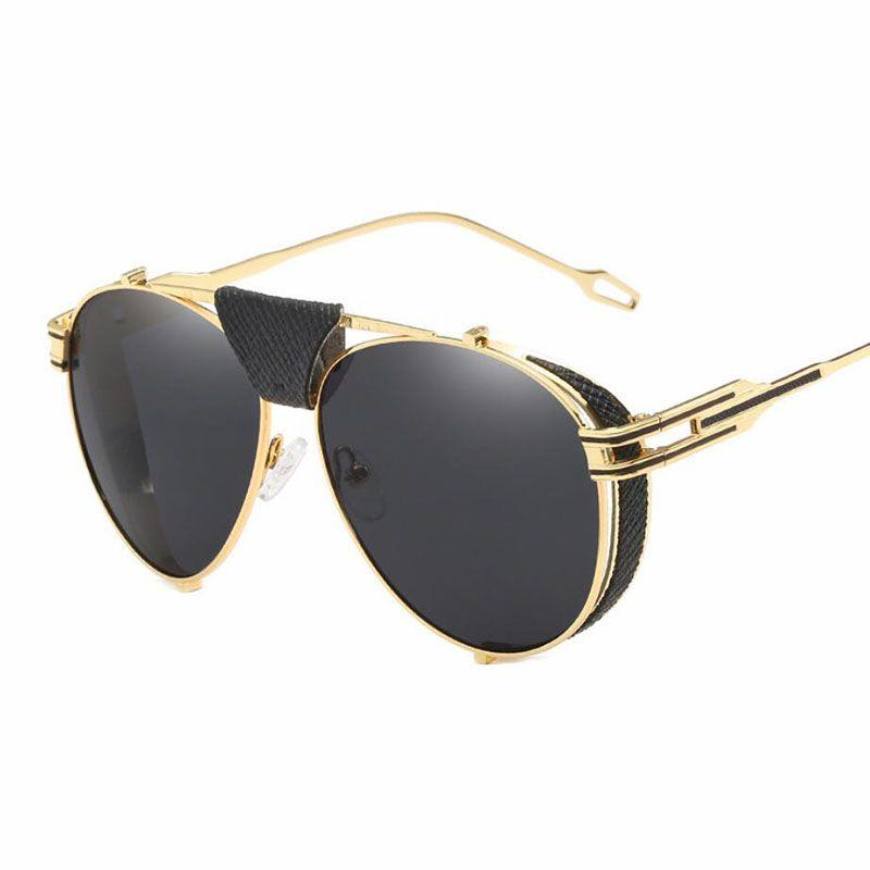 Venta al por mayor Oval Metal Metal Decoración de cuero para hombre Gafas de sol de la marca Diseñador de la marca Piloto Gafas de sol Hombres para gafas redondas UV400 Gafas TJBV