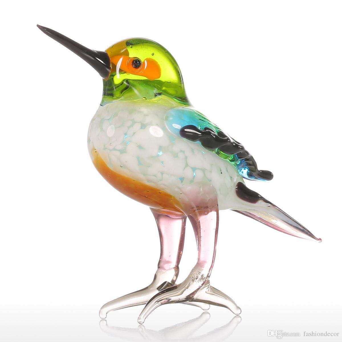 Tiny Bird Geschenk Glas Ornament Tierfigur mundgeblasenem Home Decor Multicolor für Office Home Dekoration kreative Handwerk