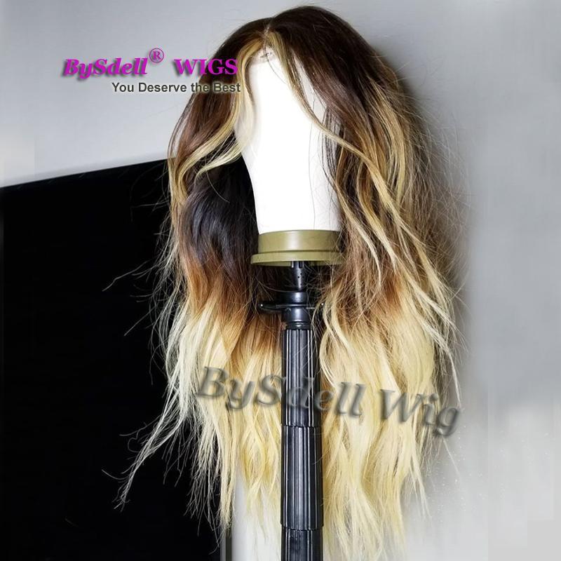 Nueva llegada peluca sintética del frente del cordón Loose Curl Wave Highlight Blonde Color negro pelo rubio pelucas delanteras del cordón