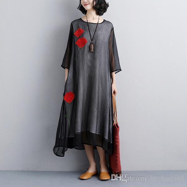 2018 Новый дизайн Женщины цветок вышивка три четверти рукава черное платье Бесплатная доставка для всех и 10% скидка на заказ над 500USD
