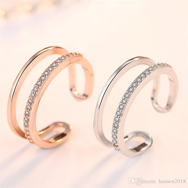 Cubic Zirconia Infinity Symbol Anello CZ Forever Endless Love Promise Band Anello Eternity Friendship Band Oro rosa per le donne Ragazze