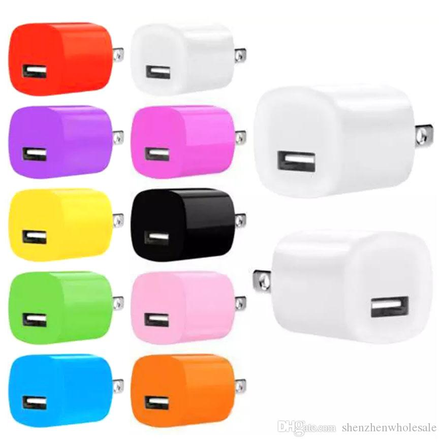 Ad alta qualità colorato 5V 1A US AC caricatore da parete per uso domestico caricabatterie per Samsung per Iphone 6 7 plus