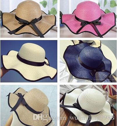 Женщины Рафия соломы черная волна шляпа дети Sun Cap Лента лук складной соломенные шляпы открытый пляж шляпа женщин пляж шапки 7 цветов