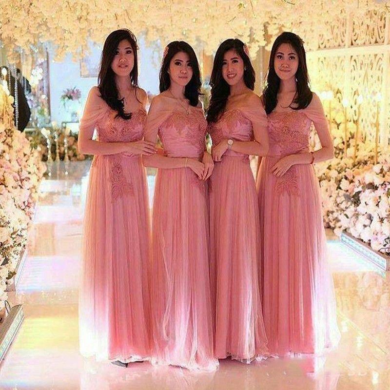 Compre Magníficos Vestidos Rosados Largos Para Dama De Honor 2019 Apliques De Encaje Tulle Off Shoulder Vestidos De Dama De Honor Boda A Medida A