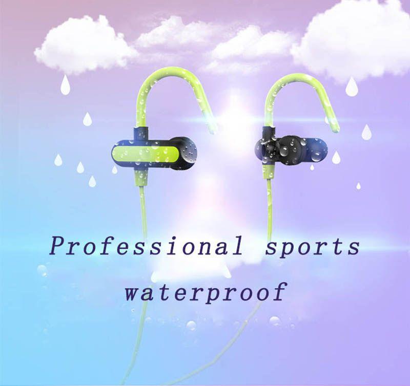 Новый стиль Bluetooth сенсорную клавишу ушной крючок водонепроницаемый и пот устойчивостью тяжелый бас стерео DeNoise спорт музыка носить комфорт HD голоса наушники