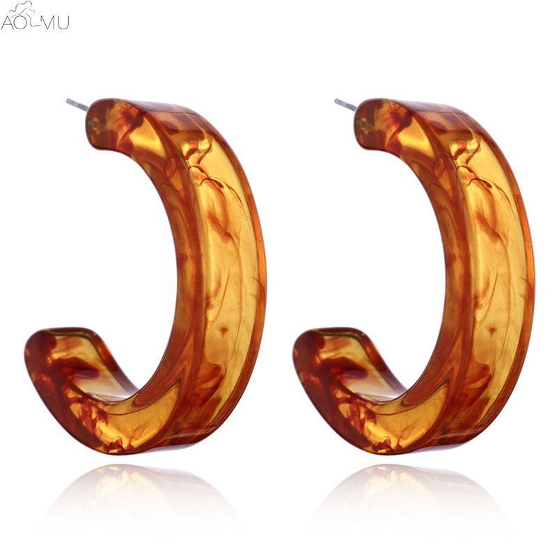 AOMU 2018 New Trendy Vintage Geometric C Shape Acrylic Resin Hoop Earrings for Women Girl Jewelry Wholesale