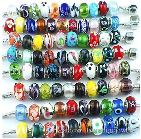 Tsunshine Murano Glasperlen Große Loch Silber überzogene europäische Lampwork Spacer Perle Armbänder Charme für Schmuckherstellung 50 Stück Mix