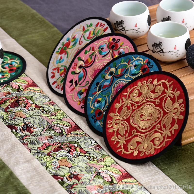 Couleurs mélangées Coaster de broderie partie de cuisine de style chinois