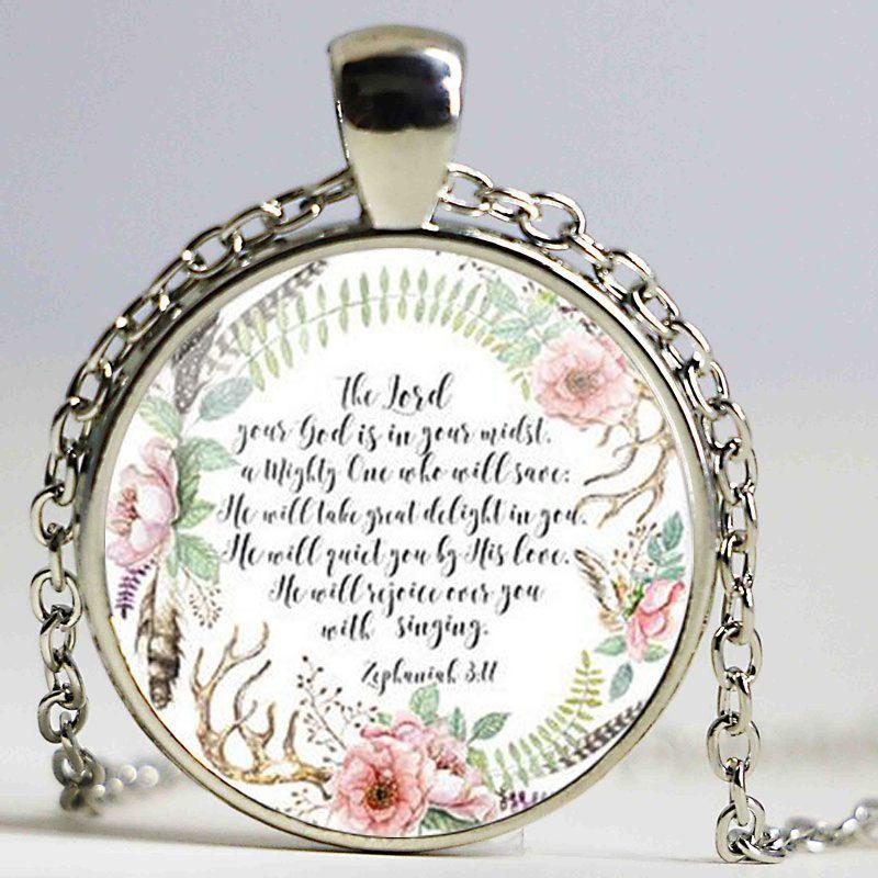 O Senhor teu Deus em seu meio Sofonias 3 Citação 17 Bíblia Colar do encanto Verso jóias de Moda para Mulheres Cristãs