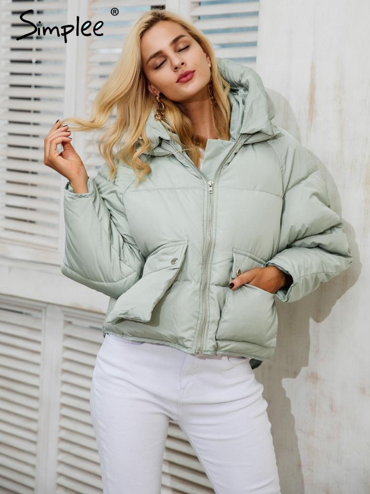 Simplee poche zippée à capuche en vrac manteau parka femmes casual survêtement rembourré survêtement parkas 2017 automne hiver chaud parka manteau femme S18101203