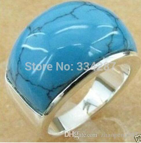 Ювелирное кольцо с серебристым бирюзой мужское Кольцо Размер, 8,9,10,
