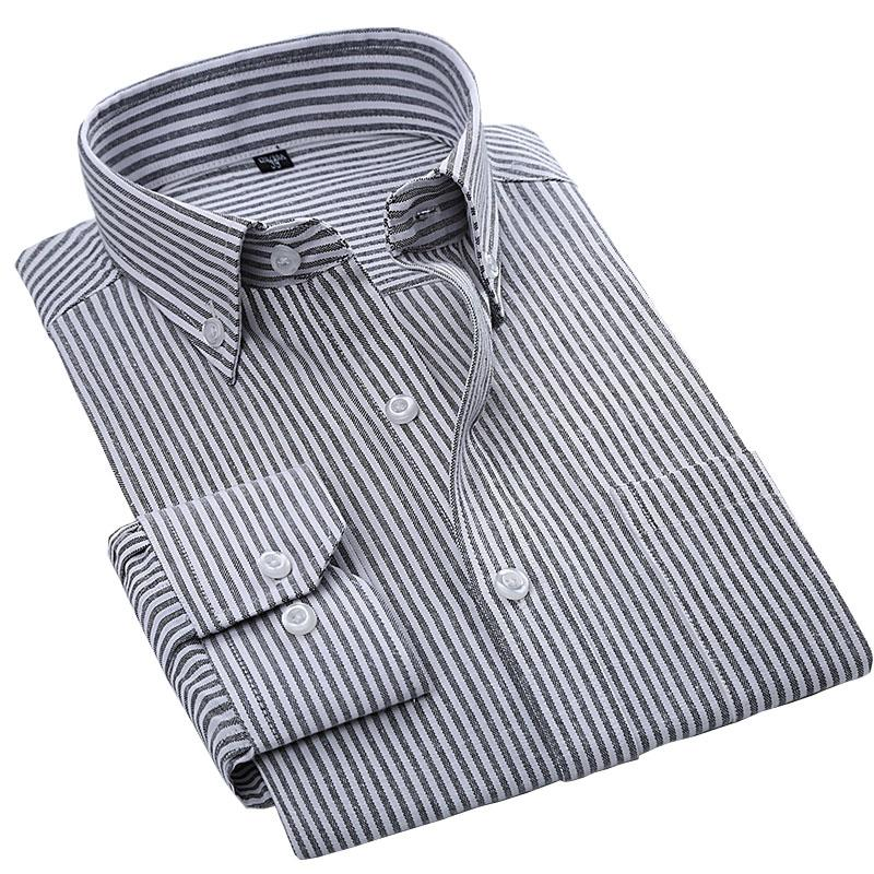 2018 Haute Qualité Easy Soin Oxford Solide Solide Manches à manches longues Collier Collier Slim Ajustement Classical Business Homme Shirts