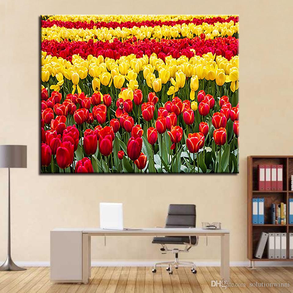 Ölgemälde durch Zahlen DIY Bilder Zeichnung gelbe rote Tulpen Färbung auf Leinwand von handgemalte Wand modulare Blumen Malerei
