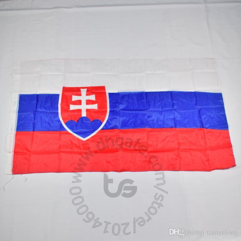 슬로바키아 국기 무료 배송 3X5 FT / 90 * 150cm 매달려 국기 슬로바키아 홈 장식 플래그 배너