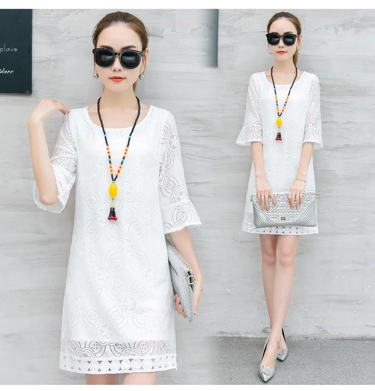 New Women Dress Summer Casual Hollow Lace Dresses Ladies Half Sleeve Vestidos Mujer Dress Plus Size White Robe Femme Mode 2018 (5)