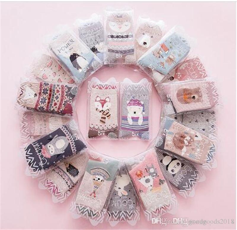 nuove donne primavera calzini 2 paia confezione regalo cotone stampa del fumetto creativo calzini moda per le donne TO396