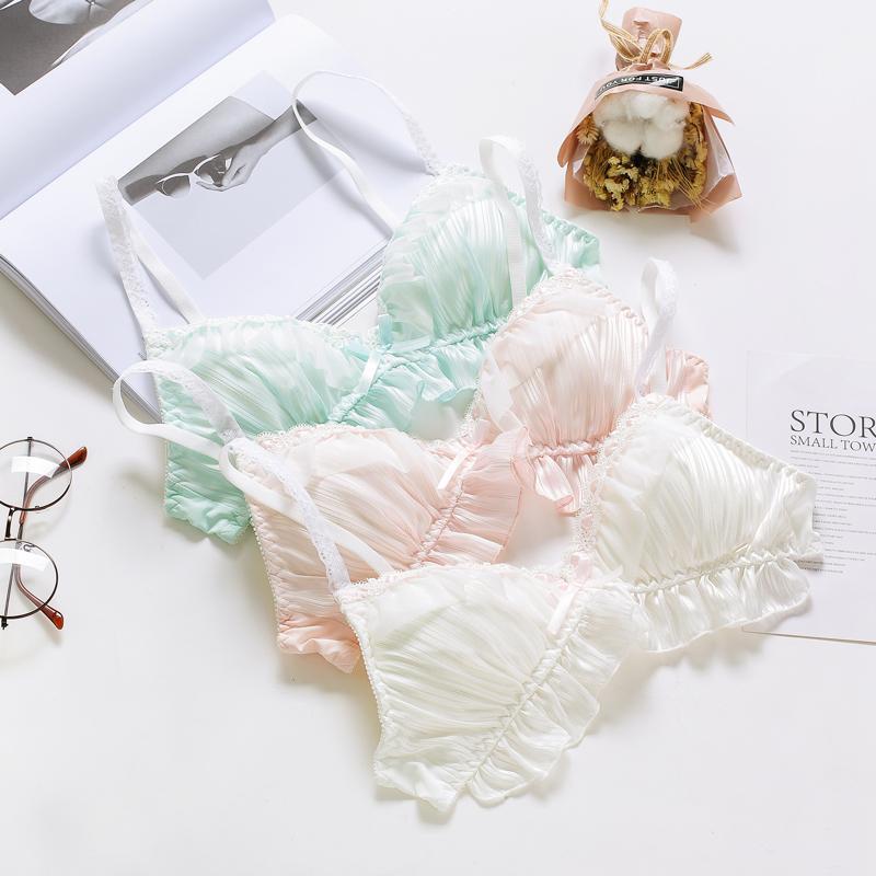Fille belle coupe triangle japonaise sans jantes sommeil confortable soutien-gorge robe ensemble de lingerie sexy rayures en mousseline de soie soutien-gorge et culotte
