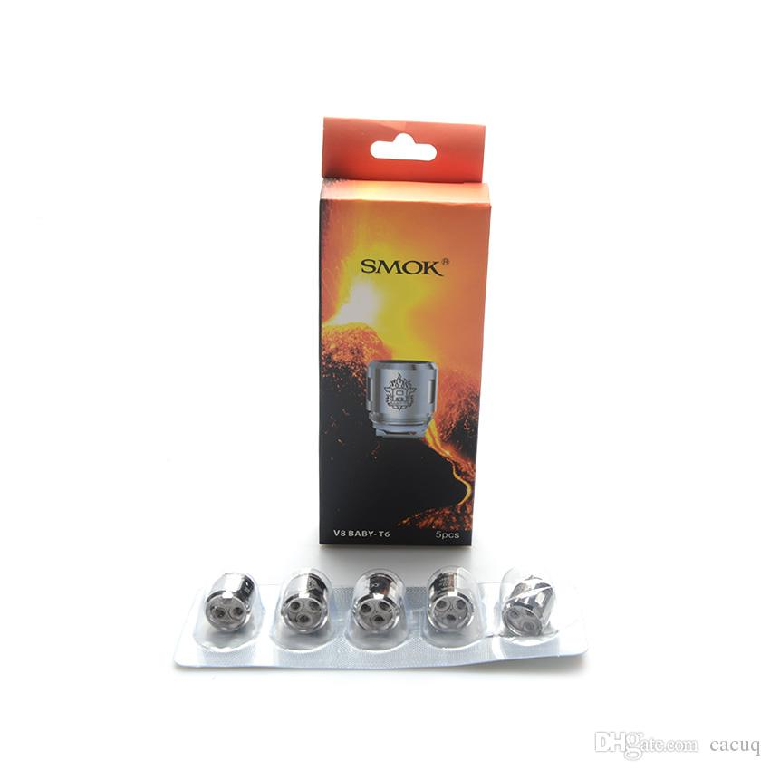 Original Smok V8 Baby T6 Core 0.2ohm 5pcs a pack 100% Smok Vape TFV8 Big Baby Tank / TFV12 Baby Prince Tank Coil