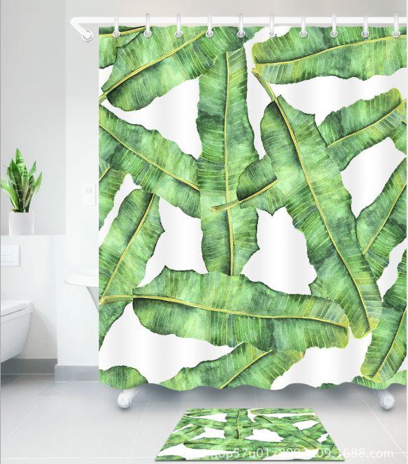 Nuevo Estilo Tropical hojas verdes Cortina de Ducha Impermeable Cortinas de Baño de Poliéster Tela Decoración de la Bañera Alfombras de piso