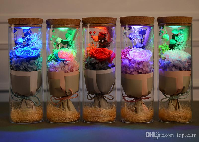2018 Valentine's Day LED Flashing Flower LED Controller Immortalized Flower Freeze Drying Lover Gift Glass Cup Rose Birthday Gift