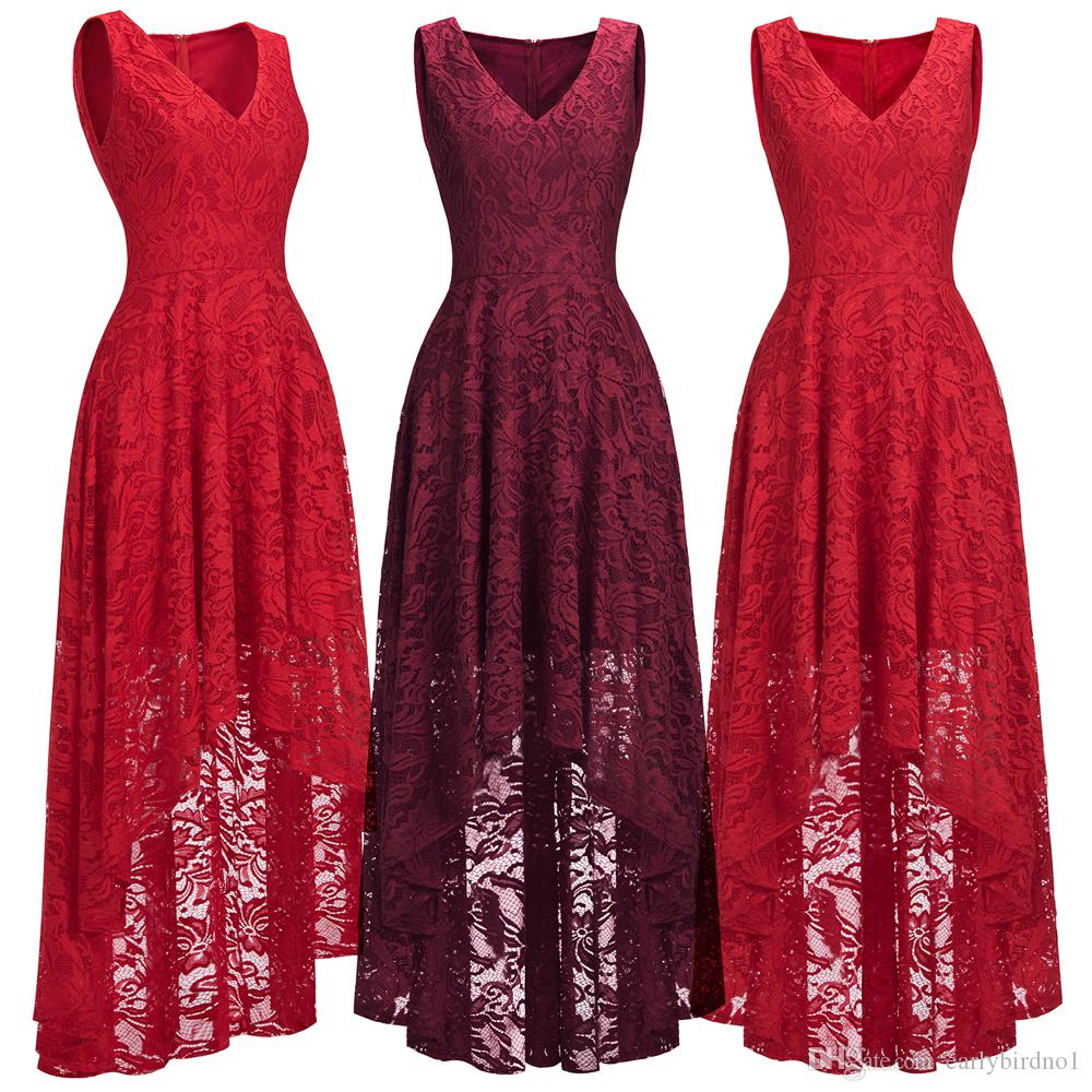 Red/Burgundy High Low Designer Womens Cocktail Party Dresses Lace Designer Occasion Wear V Neck Sleeveless Formal Evening Gown CPS1149