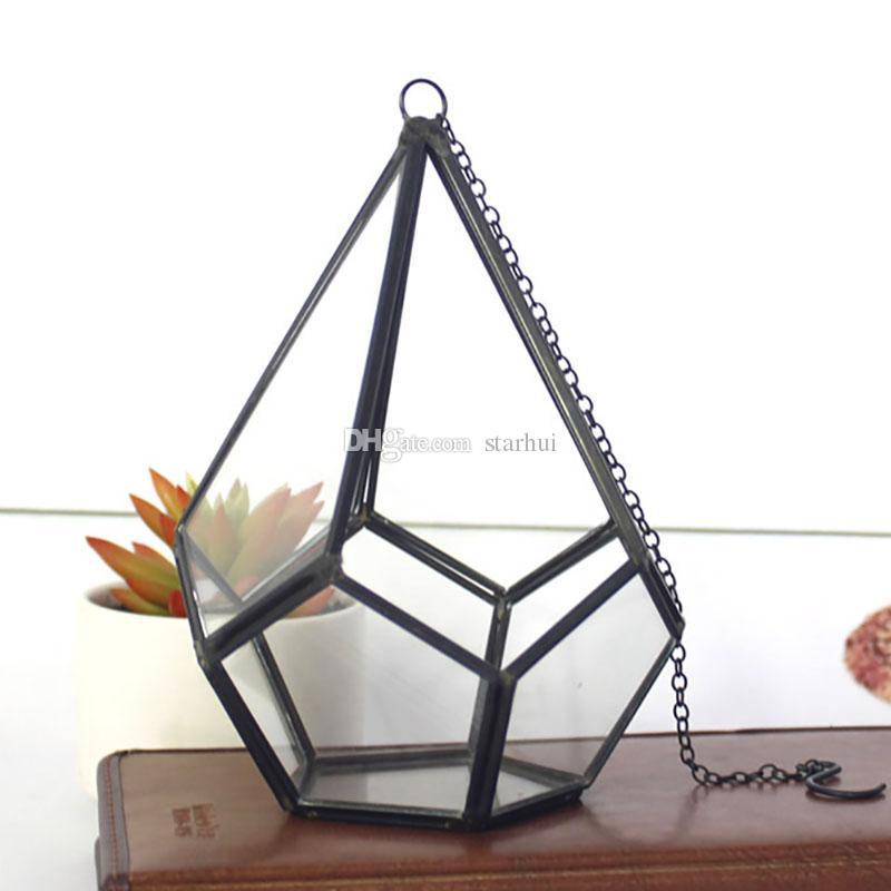 16 * 23 cm Terrário de Vidro Miniatura Geométrica Diamante Desktop Jardim Tabletop Suculenta Samambaia Musgo Planta Bonsai Flor Pote WX9-679