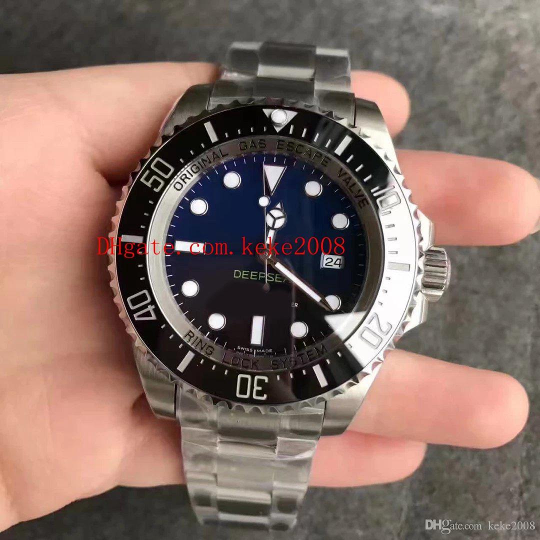 La mejor edición Relojes de pulsera de moda NFactory V7 44mm Sea-Dweller 116660 D-Blue Cerámica Negro Bisel ETA Movimiento Relojes para hombre automáticos