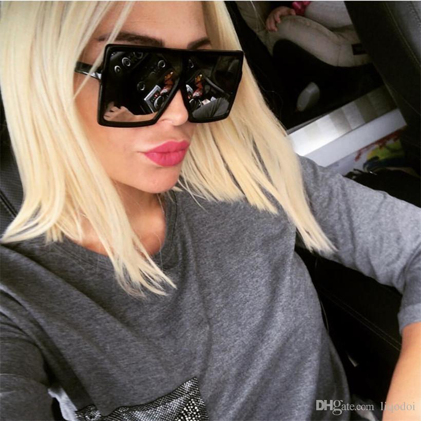 Oversized Designer Occhiali da sole quadrati donne di marca dell'annata di Gradient Lens Shades Occhiali da sole Uomini Grande Nero Occhiali Telaio