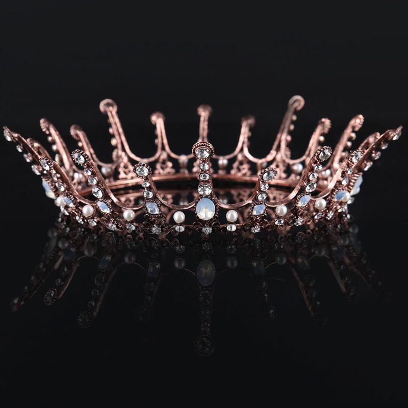 Старинные свадебные короны розовое золото горный хрусталь кристаллы свадебные короны Кристалл головные уборы аксессуары для волос партии диадемы барокко шик ручной работы