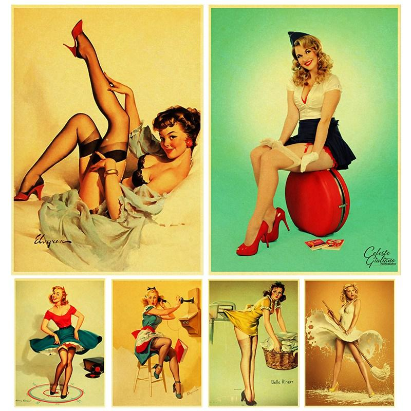 World War II Sexy pin up Girl retro poster kraft paper printed painting sexy lady art poster wall sticker