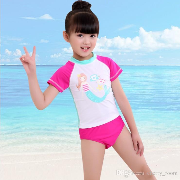 57e3448ebad42 Cartoon Girls bathing suit swimwear 2018 New Mermaid Children swimsuit  Fashion Summer Kids Beach swim Tops + shorts Sets C3161