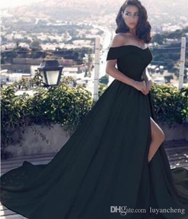 2019 새로운 섹시한 블랙 라인 오프 어깨 이브닝 드레스 사이드 분할 댄스 파티 드레스 새틴 롱 Vestido 특별 행사 이브닝 가운 아랍어
