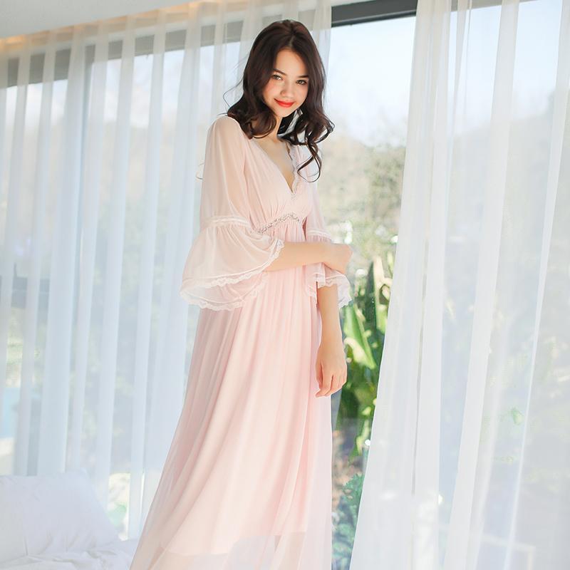 Elegante ropa de noche de las señoras atractivas del camisón del verano del camisón Real vestido de la princesa mujeres dormir S1011