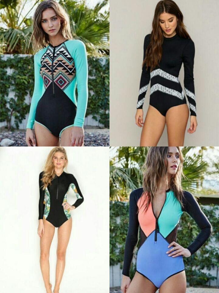 SummerCamp Nuevo color traje de surf traje de baño de manga larga ropa de mujer traje de baño Hot Spring surf ropa sumergible
