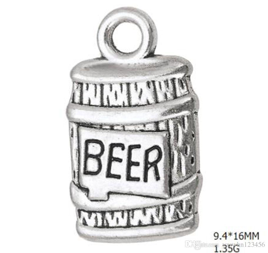 2021 Bottiglia in lega di zinco di birra Charms galleggianti fai da te bevande gioielli per fare accessori