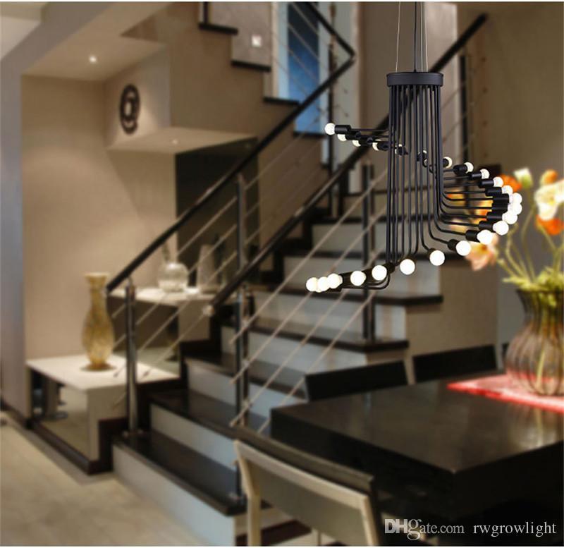 Lâmpadas Pingente Forma Arte Nordic Retro Ferro Forjado Led Chandelier Modern Escadas espirais para Cafe Bar Restaurante Sala Hotel Shopping