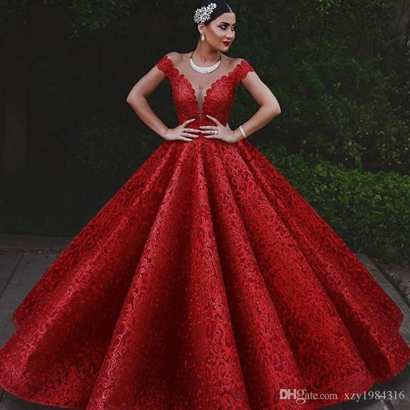 Fascinating Ball Gown Prom Dresses Glamorous Red Full Lace Long Evening Dresses Gorgeous Dubai Off Shoulder Red Carpet Dress Formal Gowns