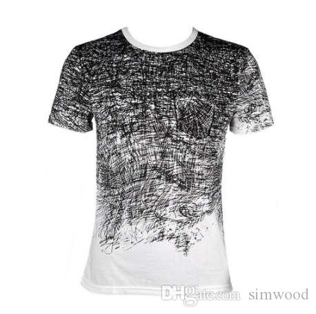 Komik 3D graffiti Baskılı tişörtlü erkekler yaz ince tişört Tops Tees Erkek yuvarlak boyun kısa kollu yaratıcı tasarım mens gömlek 2
