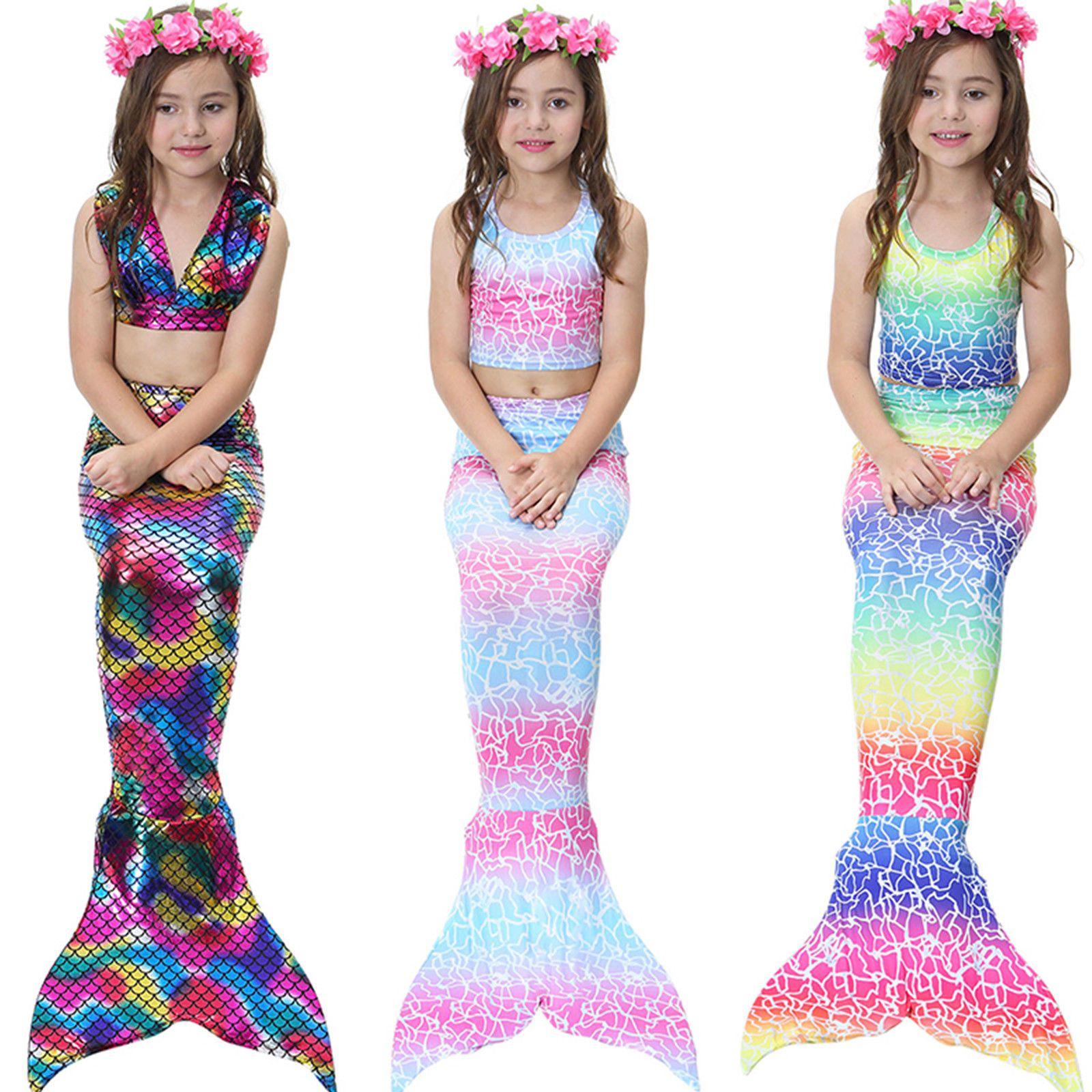 Crianças Meninas 3 Pcs Sereia Cauda Natação Bikini Set Swimwear Mono Fin Swimmable