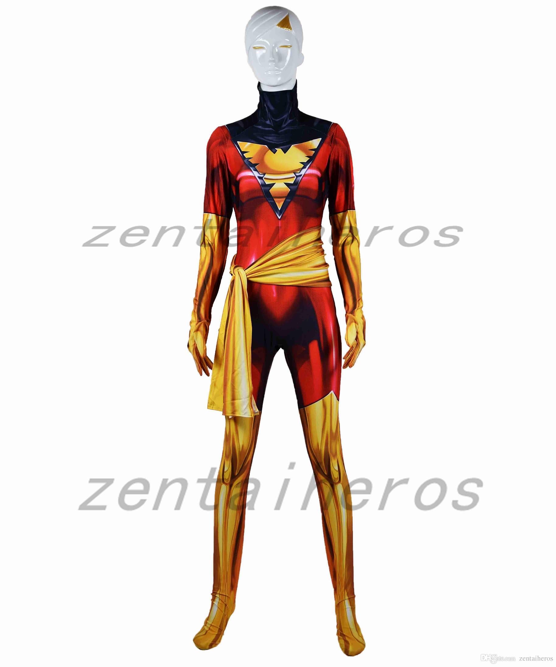 Red Dark Phoenix Cosplay costume X-Men Phoenix Superhero Bodysuit 3D Printting Lycra Spandex Zentai Halloween Party suit