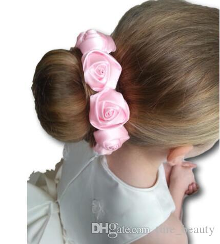 SCRUCHIES FLOWER BUN GARLAND ELASTIC GIRLS LADIES SCRUNCHY HAIR ACCESSORY
