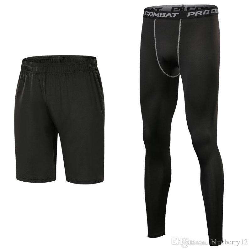 quick dry mens compression pants sets 3 colors sports running shorts and leggings basketball gym pants skinny joggers