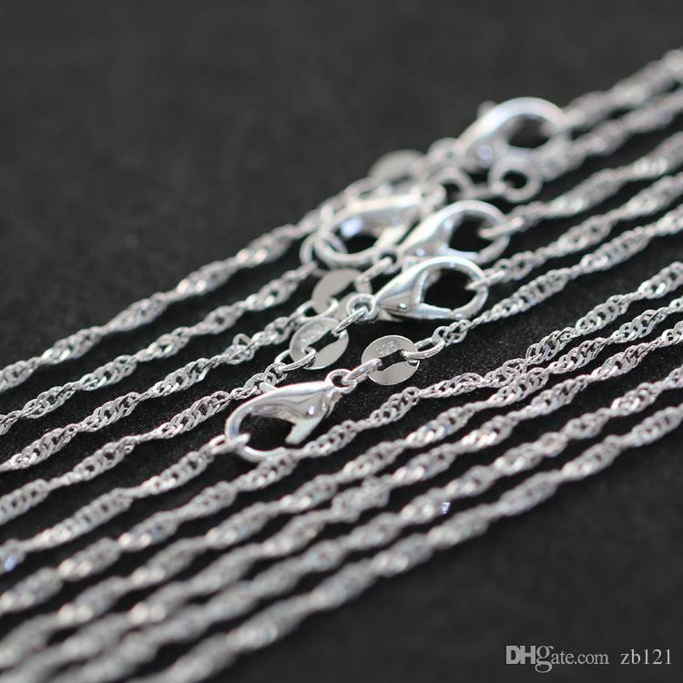 Monili sexy dei monili di modo della catena dell'argento 925 della catena dell'onda dell'acqua di 50PCS / Lot Womne per Nizza all'ingrosso della ragazza