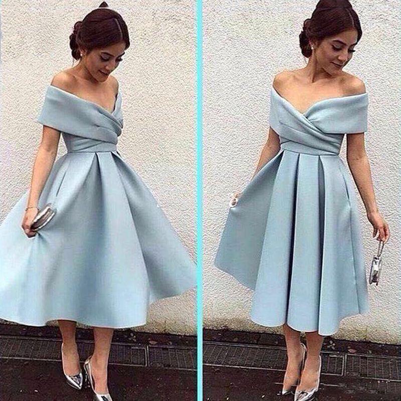Скромное короткое вечеринка платья с плечевой длины колена светло-голубое сатин безызыванное арабское платье выпускного платья выпускного платья дешевое платье невесты