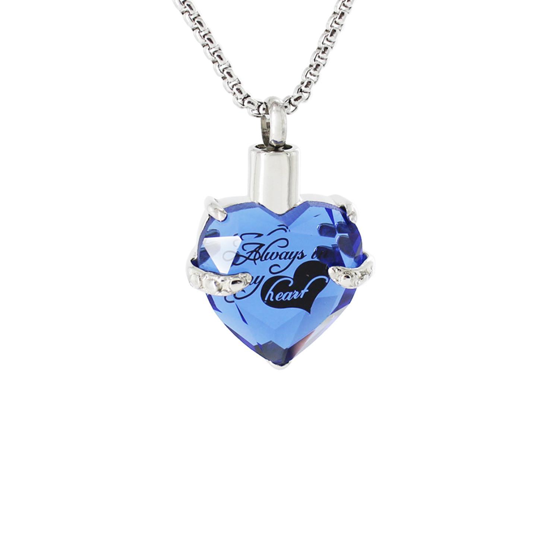 Crystal Heart Memorial bijoux en acier inoxydable Crémation Cendres Urne Pendentif
