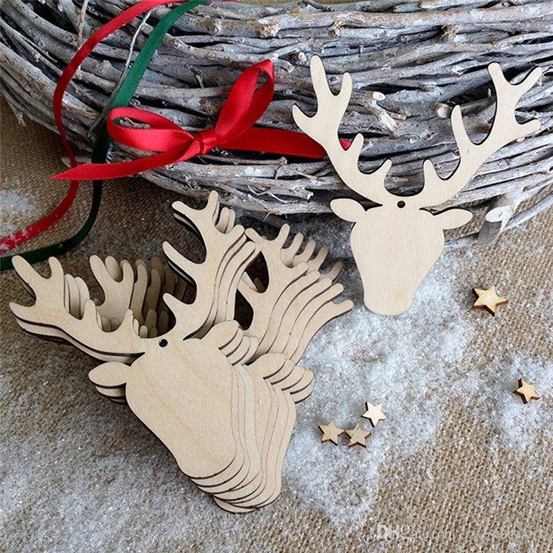 2018 الإبداعية عيد الميلاد الديكور الطبيعي خشبية الأيائل ثلج شجرة عيد الميلاد شنقا زخرفة الخشب الحرفية قلادة 10 قطعة / الحقيبة الساخن عيد الإمدادات
