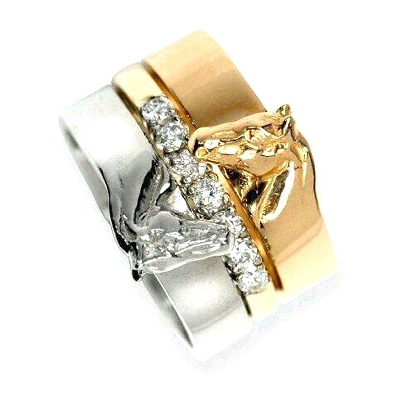 hzew 호스 슈 반지 하나 결혼 반지 애인 연인 반지 3 결혼 반지