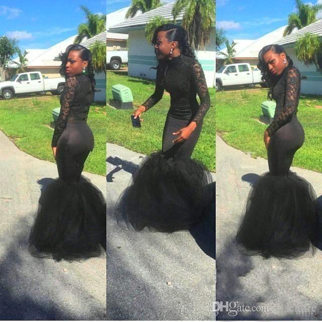 Vintage Sheer Long Sleeves Prom Dresses 2018 Mermaid Applique African Black Girls Evening Gowns Red Carpet Dress