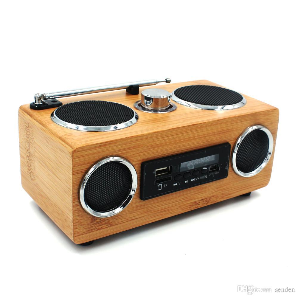 مصنع الجملة اليدوية الخيزران راديو المتحدث الساخن المحمولة مرحبا فاي الخشب المتكلم خشبية tf / usb بطاقة مضخم راديو fm مع البعيد مشغل mp3